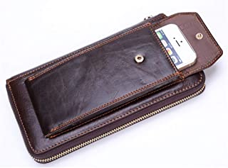 Lanyard Wallet with Zipper/Phone Wallet Brown/Leather Wallets for Men Personalized/Money Clip Wallets for Men/Travel Wallet