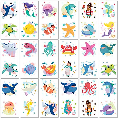 PapaKit Cute Ocean Animals 36 Temporary Fake Tattoo Set, 18 Individually Wrapped Sheets | Kids Girls & Boys Birthday Party Favor Gift Reward, Non-Toxic Food Grade Ingredients Safe Removable