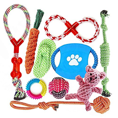 FONPOO Indestructible Dog Toys for Aggressive Chewers Pitbull Toys Dog Toys Assortment for Small to Medium Dogs Set of 10 Include Free Giraffe Dog Rope Toys, Dog Birthday Gifts