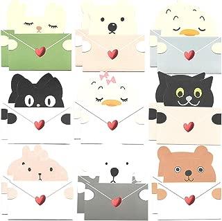 18枚 可愛い メッセージ ミニ カード 動物 アニマル 9種セット メッセージを抱える メッセージカード 封筒付、バースデー グリーティング クリスマス ギフト カード