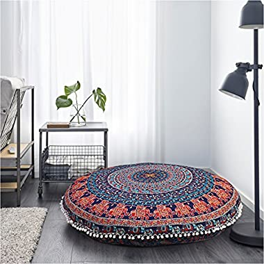 Gokul Handloom Elephant and Peacock Designs Large Round Pillow Cover Decorative Mandala Pillow Sham Indian Bohemian Ottoman Poufs Cover Pom Pom Pillow Cases Outdoor Cushion Cover (Multicolor)