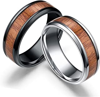 Reizteko 2 PCS Men's Titanium Ring Band, Wedding Ring with Real Wood Inlay, 8mm Comfort Fit Sizes 6 to 13 (9)
