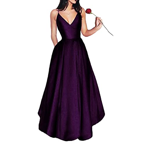 90d8366eee Bonnie Shop Women s Elegant Prom Dresses 2018 Long Short Spaghetti Straps  Satin Evening Party Dress with