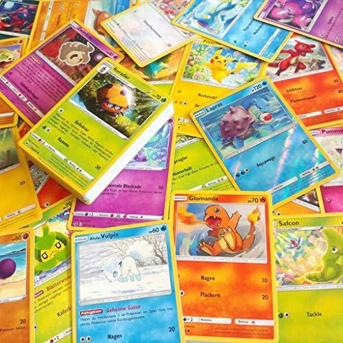 55 cartas Pokemon diferentes   Holo, raros, alemán, no dobles cartas   100 fundas Keepseven® Premium para cartas incluidas
