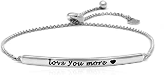 ACJNA 925 Sterling Silver Bracelet for Women Engraved Love You More Inspirational Jewelry Gift for Teen Girls