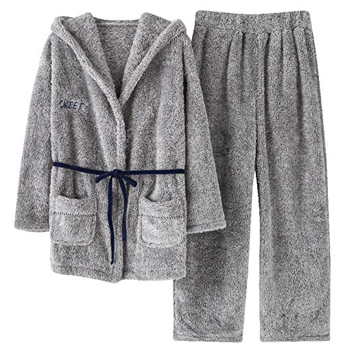 LEYUANA Conjunto de Pijama de Franela para Mujer, Style Plus Velvet Home Clothes Mujer Sweet Hooded Keep Warm XXL GreySet