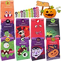 54-Pack Halloween Paper Trick or Treat Bags with Character Designs with 54-Pieces Stickers