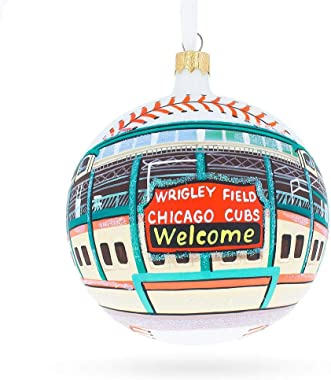 Wrigley Field, Chicago, Illinois Glass Ball Christmas Ornament 4 Inches