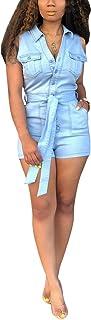 Salimdy Women'sSexySleeveless LapelButtonPockets Bodycon Shorts Denim Jumpsuit Rompers