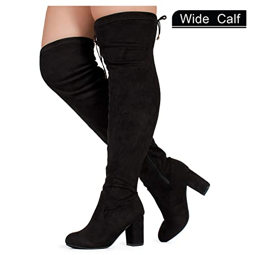 028bd2b243c RF ROOM OF FASHION Women s Over The Knee Block Chunky Heel Stretch Boots  (Medium and