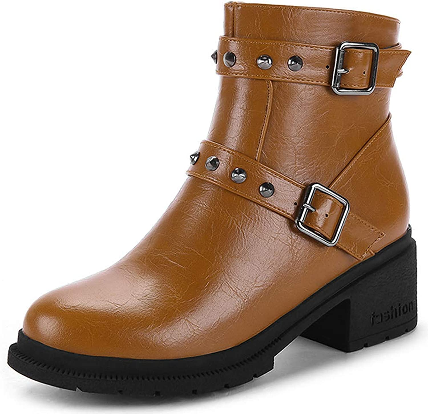 Gcanwea Women's Studded Short Boots Buckle Strap Round Toe Medium Block Heel Ankle Booties with Zipper Sexy No Grinding Feet Fashion Joker Dexterous Easy to Match Breathable Green 7 M US Ankle Boots