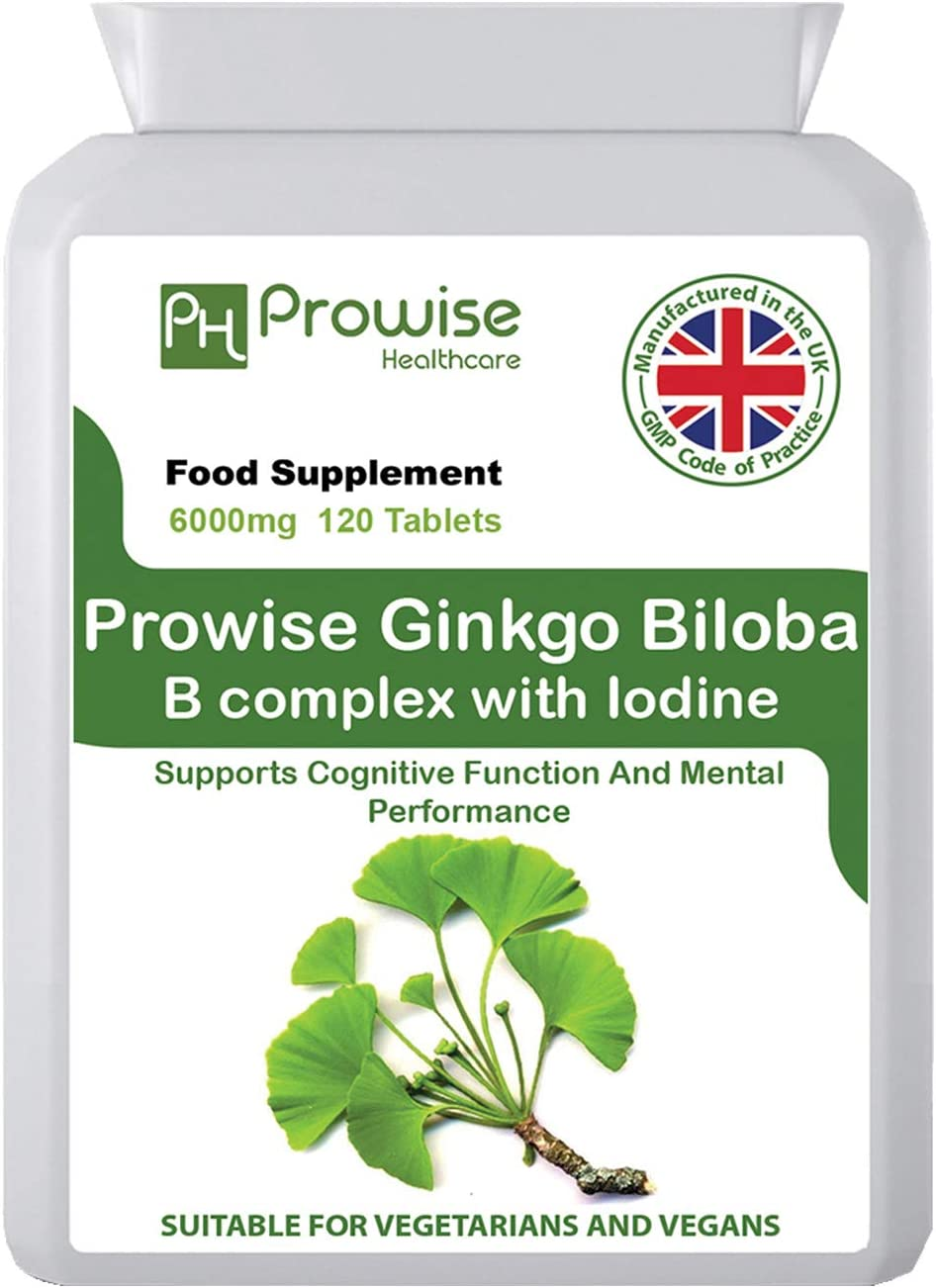 Ginkgo Biloba 6000mg with Brand new Vitamin Quality inspection B and Iodine Complex Table 120
