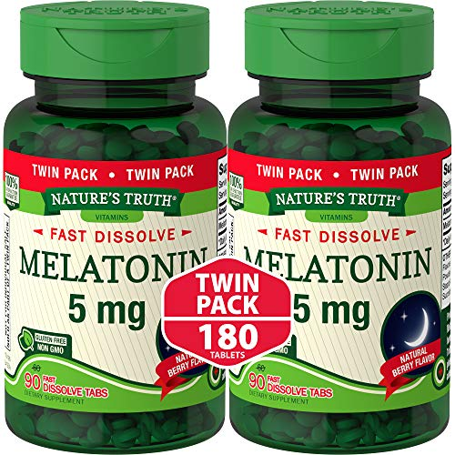 Melatonin 5 mg | 180 Fast Dissolve Tablets (2 X 90 Twin Pack) | Nighttime Sleep Aid | Natural Berry Flavor | Vegetarian, Non-GMO, Gluten Free | by Nature's Truth
