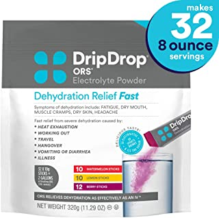 DripDrop Ors Dehydration Relief fast Electrolyte Powder Sticks, Watermelon, Berry, Lemon Flavor, Makes (32) 8oz Servings
