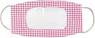 Clear Lip Reading Face Mask Checkered (Pink)