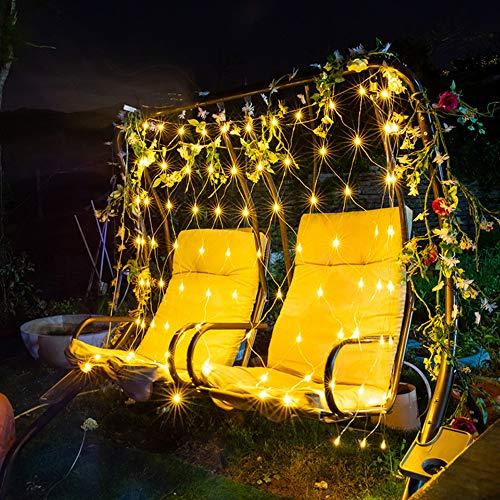 LED Lichternetz 2x3m 204 LEDs, Lichtervorhang für Innen Party, Lichterkette mit Timer & 8 Modi, für Baum Garten, Weihnachten Partydekoration Wohnzimmer Kinderzimmer (Warmweiß)