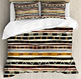 Ambesonne Abstract Duvet Cover Set, Ethnic Style Geometric Forms with Striped Pattern on Bold Earth Tones Print, Decorative 3 Piece Bedding Set with 2 Pillow Shams, Queen Size, Orange Cream