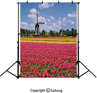 10x15Ft Vinyl Windmill Decor Backdrop for Photography,Colorful Pink Tulips Fresh Springtime Field European Historic Traditional Decorative Background Newborn Baby Photoshoot Portrait Studio Props Birt