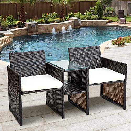Hmcozy Wicker Patio Conversation Furniture Set, Outdoor Furniture Set with Removable Cushions & Table, Tempered Glass Top, Modern Rattan Sofas Set for Garden Lawn Backyard