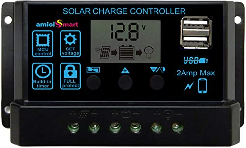 amiciSmart Solar Charger Controller 20A, Intelligent Battery Regulator for Solar Panel LCD Display with USB Port 12V/...