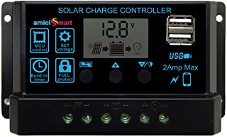 amiciSmart Solar Charge Controller 20A, Intelligent Battery Regulator for Solar Panel LCD Display with USB Port 12V/24V (20A)