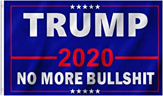 EKEV 3x5 Foot Donald Trump 2020 Flag - NO More Bullshit Flags with Brass Grommets & Canvas Header & Double Stitched - Vibrant Colors and UV Fade Resistant