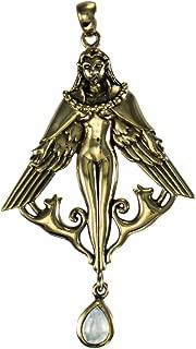 Bronze Norse Goddess Freya Pendant with Natural Rainbow Moonstone