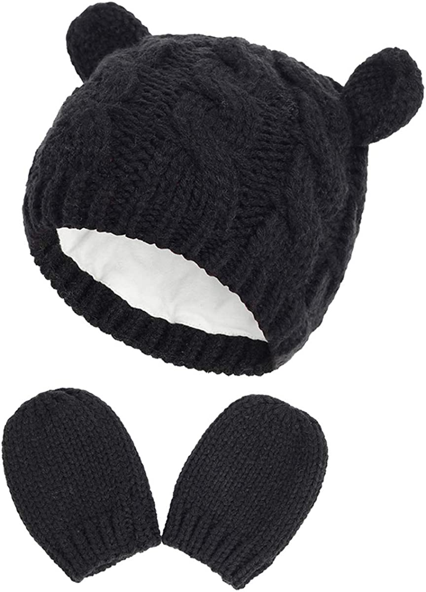 DERCLIVE Baby Hat and Mitten Set Winter Knitted Cute Ear Warm Beanie Hat and Mittens for 0- 18M Baby Boys Girls