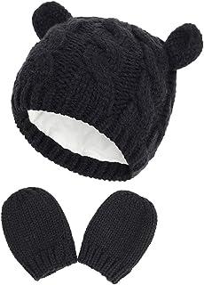 2 cappelli invernali da bambino, con cappellino e berretto per bambini, colore nero