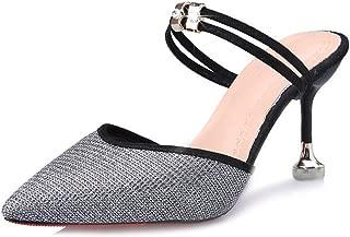 zaragfushfd Fashion Ankle Strap Kitten Heel Dress Sandal Mid Heel Open Toe Vegan Pumps
