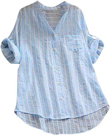 JURTEE Camiseta De Solapa para Mujer Talla Grande Casual ...