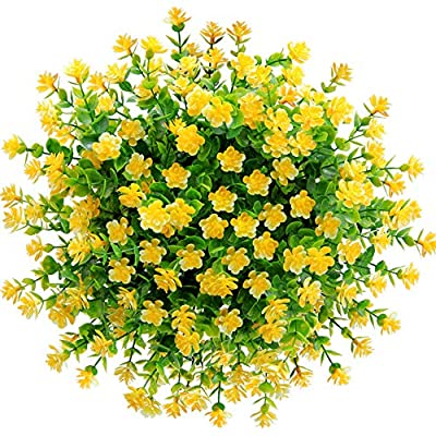 CQURE Artificial Flowers, Fake Flowers Artificial Greenery Plants Eucalyptus Outdoor Bridal Wedding Bouquet for Home Garden Party Wedding Decoration 5 Bunch (Yellow)