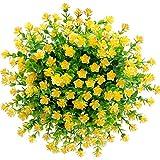 CQURE künstliche Blumen,Unechte Deko Blumen Künstliche Pflanze Grün UV-beständige Eukalyptus kunstblumen Outdoor Braut Hochzeitsblumenstrauß für Haus Garten Blumenschmuck 5 Stück (Gelb)