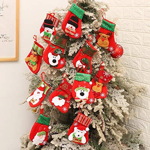 Kungfu Mall, calze natalizie da appendere all'albero di Natale, 12 pezzi, per decorazioni natalizie