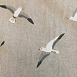Stoff Meterware Baumwolle natur Möwen weiß maritim
