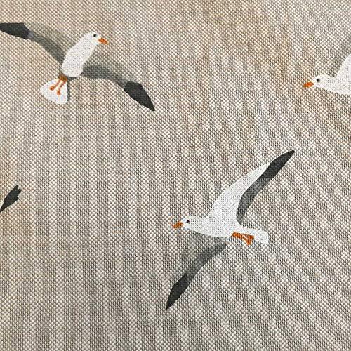 Stoff Meterware Baumwolle natur Möwen weiß maritim Nordsee Sylt Meer Dekostoff Kissen Vorhangstoff Tischdeckenstoff