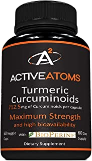 Active Atoms:Turmeric - Anti Inflammatory Support - 60 Capsules - Highest Potency Curcurmin, Superior Absorption, Third Party Tested