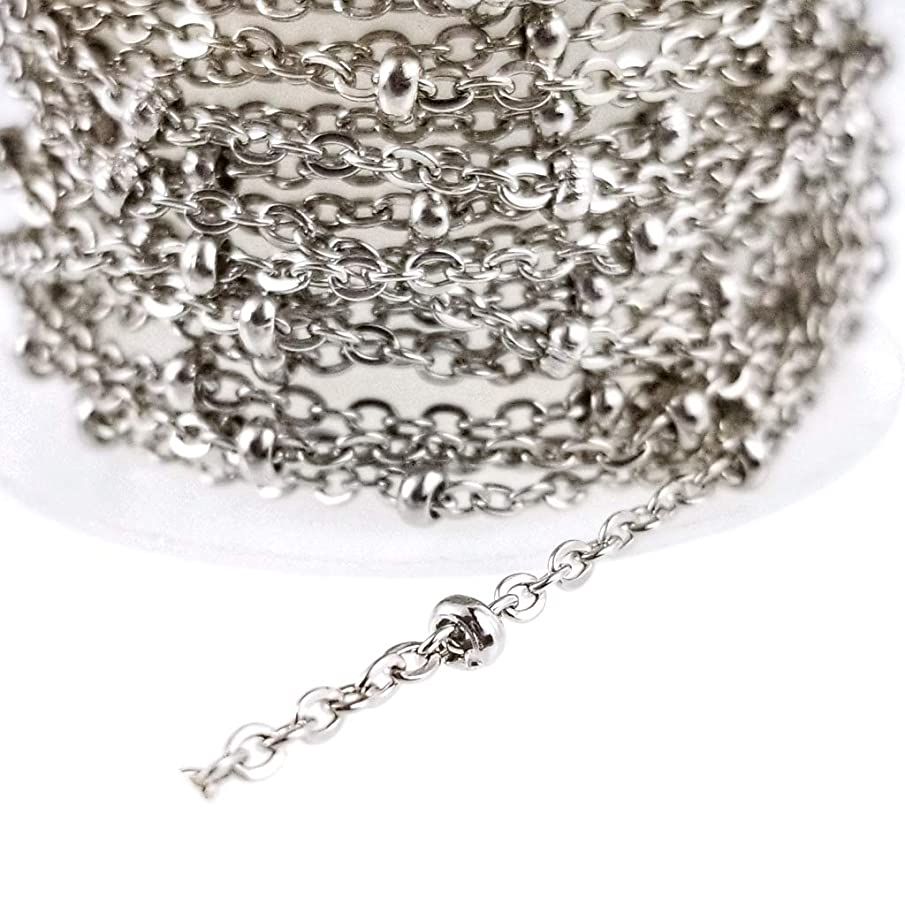 Stainless Steel Cable Chain with Beads - for Rosary, Jewelry Making - Hypoallergenic Nickel Free (2mm)