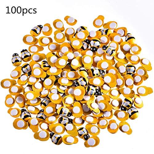 Mini api in Legno con abbellimenti Adesivi Bumble Bee in Legno Verniciato per Decorazioni Artigianali Fai-da-Te Scrapbooking 100 Pacchetto