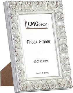 Portafotos de madera de pino CMGdecor con Grabado decorado RF F02 (15 X 20 Cm, PLATA)