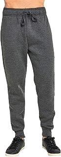 JMR Men's Fleece Sweat Pants, Elastic Waistband/Cuffed/Open Bottom Sweatpants with Side Pockets