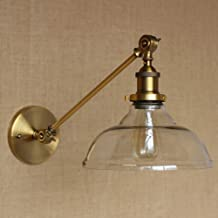 SUSUO Lighting Vintage Country Style Clear Glass Shade Wall Swing Arm Lamp Wall Sconces Antique Gold Finish