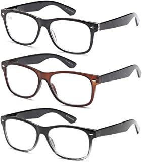 Gamma Ray Reading Glasses - 3 Pairs Spring Hinge Readers for Men and Women 2.00