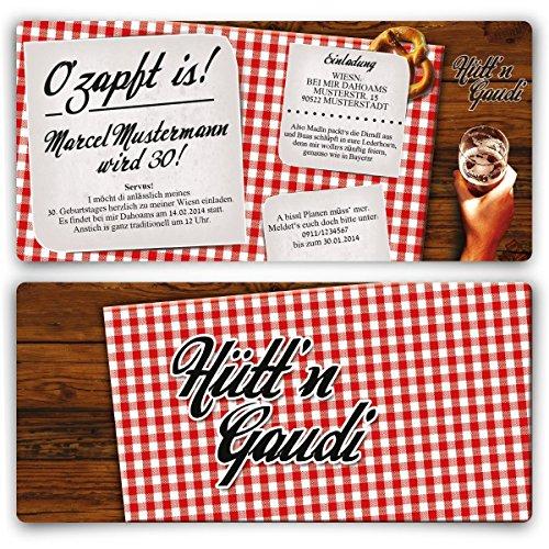 Einladungskarten zum Geburtstag (30 Stück) Hütt'n Gaudi Frühschoppen O'zapft is! Oktoberfest
