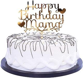 YUINYO Happy Acrylic Heart Birthday for Mama Cake Topper for Birthday Party Decorations Happy Mama Birthday Supplies Decor...