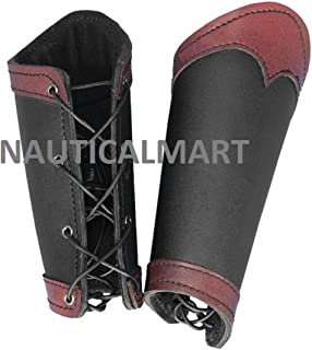 NAUTICALMART Pair of Leather Arm Rail Warrior Black/Red Arm Guards LARP Medieval Battle Viking