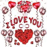 ASANMU - Kit di decorazioni per San Valentino, 1000 petali di rosa + palloncini rossi + palloncini a...