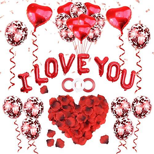 ASANMU Kit de décoration pour la Saint Valentin, 1000 pétales de rose + ballons rouges Love + ballons en forme de cœur + Saint Valentin pour mariage, anniversaire, douche de mariée, fête