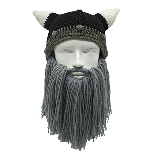 Aolvo Viking Beard Beanie Winter Warm Barbarian Beanie Beard Hats Knitted  Funny Skull Cap with Horn be910715df1