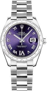 Rolex Datejust 31 Purple Diamond Dial White Gold and Steel Luxury Watch Ref. 178344